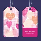 Vector textured fabric hearts heart silhouette pattern frame — Stock Vector