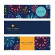 Vector holiday fireworks horizontal banners set pattern background — Stock Vector #58909993