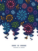 Vector holiday fireworks Christmas tree silhouette pattern frame card template — Wektor stockowy