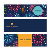 Vector holiday fireworks horizontal banners set pattern background — Stock Vector