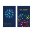 Vector holiday fireworks vertical round frame pattern business cards set — Stock Vector #58910095