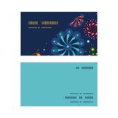 Vector holiday fireworks horizontal corner frame pattern business cards set — Stock Vector