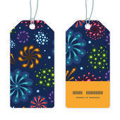 Vector holiday fireworks vertical stripe frame pattern tags set — Stock Vector