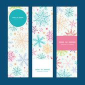 Vector colorful doodle snowflakes vertical banners set pattern background — Stockvektor