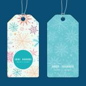 Vector colorful doodle snowflakes vertical round frame pattern tags set — Stok Vektör