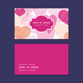 Vector textured fabric hearts heart silhouette pattern frame — Stockvector