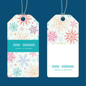 Vector colorful doodle snowflakes vertical stripe frame pattern tags set — Stock Vector