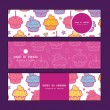 Vector colorful cupcake party horizontal banners set pattern background — Stock Vector #59108193