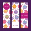 Vector colorful cupcake party vertical banners set pattern background — Stock Vector #59108493