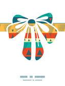Vector vibrant ikat stripes gift bow silhouette pattern frame — Stock Vector