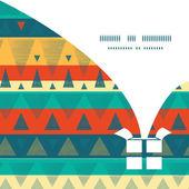 Vector vibrant ikat stripes Christmas gift box silhouette pattern frame card template — Stock Vector