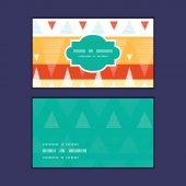 Vector ikat vibrante listras quadro horizontal padrão conjunto de cartões de visita — Vetor de Stock