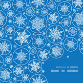 Vector falling snowflakes frame corner pattern background — Stock Vector