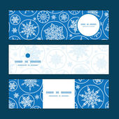 Vector falling snowflakes horizontal banners set pattern background — Stock Vector