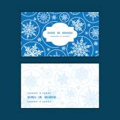 Vector falling snowflakes horizontal frame pattern business cards set — Vector de stock