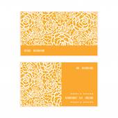 Vector golden lace roses horizontal stripe frame pattern business cards set — Stock Vector