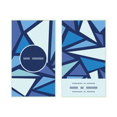 Vector abstract ice chrystals vertical round frame pattern business cards set — Stok Vektör