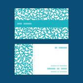 Abstracto del vector bajo el agua las plantas raya horizontal marco patrón conjunto de tarjetas de visita — Vector de stock