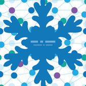 Vector connected dots Christmas snowflake silhouette pattern frame card template — Vettoriale Stock