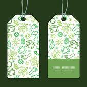 Vector ecology symbols vertical stripe frame pattern tags set — Stockvektor
