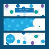 Vector connected dots horizontal banners set pattern background — Cтоковый вектор