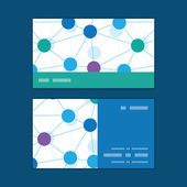 Vector connected dots horizontal stripe frame pattern business cards set — Stockvector