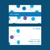Vector connected dots horizontal stripe frame pattern business cards set — Stockvektor