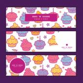 Vector colorful cupcake party horizontal banners set pattern background — Stock Vector