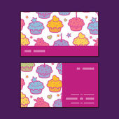 Vector colorful cupcake party horizontal stripe frame pattern business cards set — Stockvector