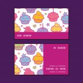 Vector colorful cupcake party horizontal stripe frame pattern business cards set — Vetorial Stock
