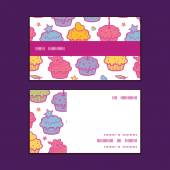 Vector colorful cupcake party horizontal stripe frame pattern business cards set — ストックベクタ