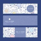 Vector ornamental abstract swirls horizontal banners set pattern background — Cтоковый вектор