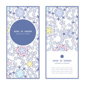 Vector ornamental abstract swirls vertical round frame pattern invitation greeting cards set — Stockvector