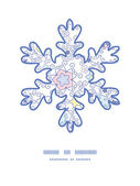 Vector ornamental abstract swirls Christmas snowflake silhouette pattern frame card template — Stockvektor