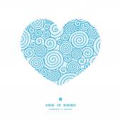 Vector abstract swirls heart silhouette pattern frame — Cтоковый вектор