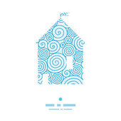 Vector abstract swirls house silhouette pattern frame — Vector de stock