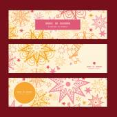 Vector warm stars horizontal banners set pattern background — Cтоковый вектор