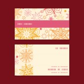 Vector warm stars horizontal stripe frame pattern business cards set — Stockvector