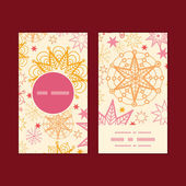 Vector warm stars vertical round frame pattern business cards set — Stockvector