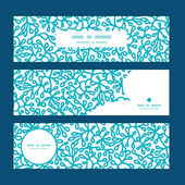 Vector abstract underwater plants horizontal banners set pattern background — Cтоковый вектор