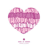 Vector pink ruffle fabric stripes heart silhouette pattern frame — Stockvektor