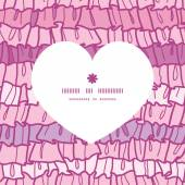 Vector pink ruffle fabric stripes heart silhouette pattern frame — Vecteur