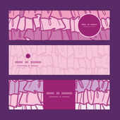 Vector pink ruffle fabric stripes horizontal banners set pattern background — 图库矢量图片