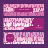 Vector pink ruffle fabric stripes horizontal banners set pattern background — Stockvector