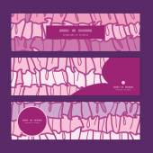 Vector pink ruffle fabric stripes horizontal banners set pattern background — Cтоковый вектор