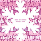 Vector pink ruffle fabric stripes Christmas snowflake silhouette pattern frame card template — Stockvektor