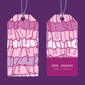 Vector pink ruffle fabric stripes vertical stripe frame pattern tags set — ストックベクタ