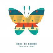 Vector vibrant ikat stripes butterfly silhouette pattern frame — Stock Vector