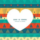 Vector vibrant ikat stripes heart silhouette pattern frame — Stock Vector