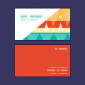 Vector vibrant ikat stripes horizontal corner frame pattern business cards set — Stock Vector